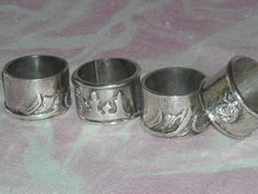 Set of Four ArtisanMade Silver Plate Napkin by YesterdaysGold, $38.00
