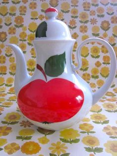 "Vintage 70s Large Apple Tea/Coffee Pot by Pommedejour on Etsy////`````yes indeed...THE Applest-Apple on any ceramic I've ever seen...' I've Seen A Few""..lol..dkw....(background is reminiscent of 'contact paper!)  Remember?"