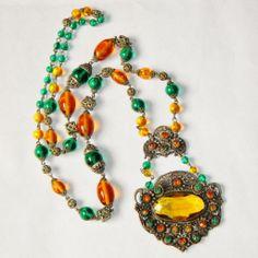 Fabulous Art Deco Czech Glass Necklace, Green, Amber, Filigree