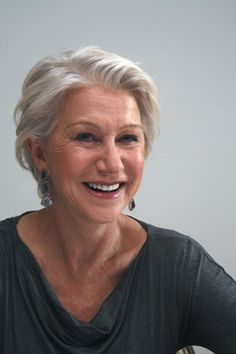 Helen Mirren - if my hair will stay out of my eyes. Short Hair Cuts, Short Hair Styles, Dame Helen, Silver Grey Hair, Gray Hair, White Hair, Judi Dench, My Hairstyle, Hairstyles