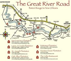 Louisiana Plantations Guide Louisiana River Road Plantations - River road map