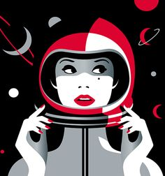 Woman in astronout helmet, illustration by Malika Favre