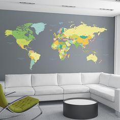 Decorazione Adesiva Coloured Map
