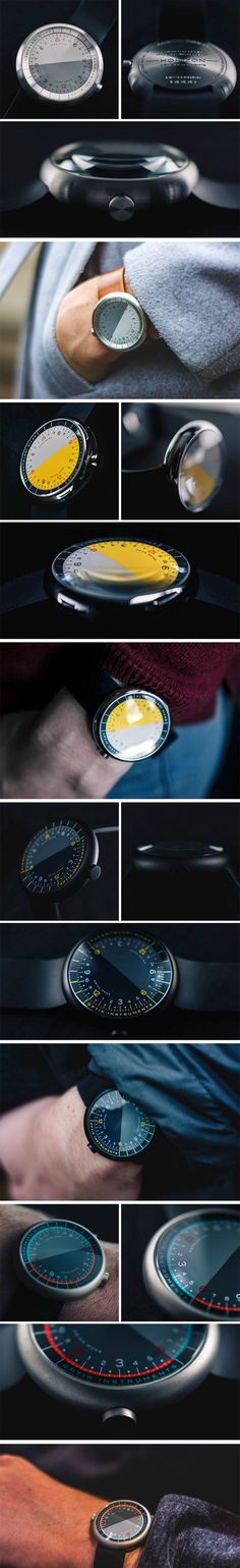 There's a certain beauty to the complexity of the Horizon watch. It's visually completely different from watches we've seen, but conceptually, feels familiar. It explores the duality of day and night with a beautiful dual colored dial, depicting daylight and darkness. The line in between those two colors becomes the horizon between the two times of the day, and hence the name. BUY NOW!