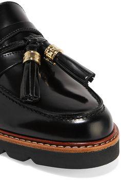 Stuart Weitzman - Manila Glossed-leather Loafers - Black - IT38.5