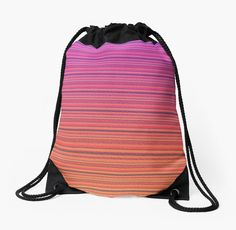 Refracted Stripes Sunset Drawstring Bag by Terrella.  Refracted light on stripes of various shades of a summer sunset • Also buy this artwork on bags, apparel, phone cases, and more.