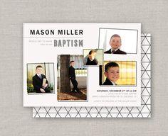 Items similar to LDS Baptism Invitation - Mason on Etsy Christmas Collage, Christmas Cards, Mason Miller, Miller Homes, Baptism Invitations, Color Correction, Lds, High Quality Images, Photo Cards