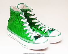 549a11be3c9e Kelly Green Sequin Canvas High Top Sneakers Shoes | Princess Pumps Custom  Wedding Shoes and More