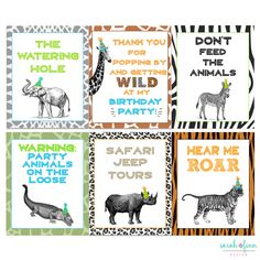 Animal Signs, Zoo Birthday, Wild Animal Party, Printable Party Signs, Party Animal, Elephant, Giraffe, Tiger, Safari, Instant Download by SarahFinnDesign on Etsy https://www.etsy.com/listing/471815722/animal-signs-zoo-birthday-wild-animal