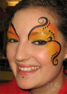 butterfly face paint for Reese's costume, but we will do purple instead of orange