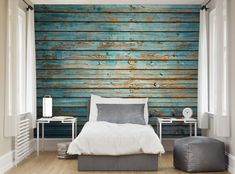 Washed Timber Wood Effect Wall Mural Wallpaper Mural Bedroom Wallpaper Murals, Wall Wallpaper, Wall Murals, Wallpaper Paste, Timber Walls, Timber Wood, Trinity House, Feature Wallpaper, Blue Wood