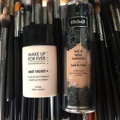 Two best long wear foundations: Makeup Forever Mat Velvet+ and Kat Von D Lock it tattoo foundation. #foundation