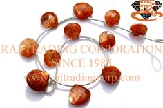 Sunstone Faceted Heart (Quality AAA) Shape: Heart Faceted Length: 18 cm Weight Approx: 7 to 9 Grms. Size Approx: 9.5 to 12.5 mm Price $26.40 Each Strand