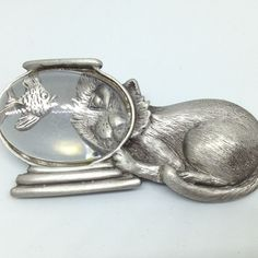 """/""""JJ/"""" Jonette Jewelry Silver Pewter /'Leopard in Tree/' Pin ~ Beautiful Piece"""
