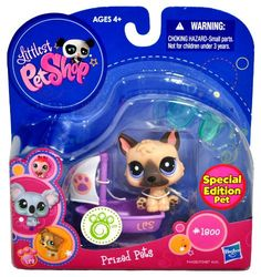 """Hasbro Year 2010 Littlest Pet Shop """"Special Edition Pet"""" Bobble Head Pet Figure Set #1800 - German Shepherd Puppy Dog with Sail Boat and Sunglasses (94428) $4.00"""