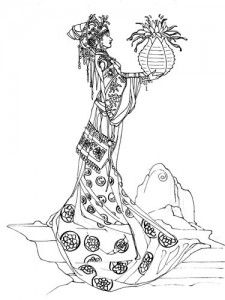 Guan yiin goddess of mercy peacock original ink for Stephanie coloring pages