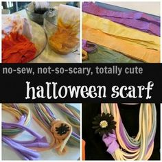 This Halloween craft idea for kids is a winner with me! It's a non-scary, totally cute and so easy of a halloween activity idea for kids and family! This halloween scarf craft for kids is a no-sew project made from upcycled t-shirts. #halloween #halloweenparty #diy #fall #crafts #craftsforkids #easy #upcycling #crafting #holiday #diycrafts