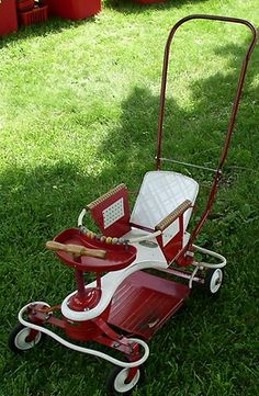 1950s Taylor Tot Baby Stroller.  I went down the basement stairs in one of these.  Seems I liked to travel even then!