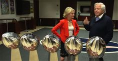 Robert Kraft gets emotional when seeing all five Lombardi Trophies together for the first time