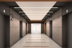 Quay Office Building in Bangalore designed by MTDI Group Lobby Interior, Office Interior Design, Office Interiors, Modern Interior, Interior Decorating, Elevator Lobby Design, Office Building Lobby, Office Lobby, Design Entrée