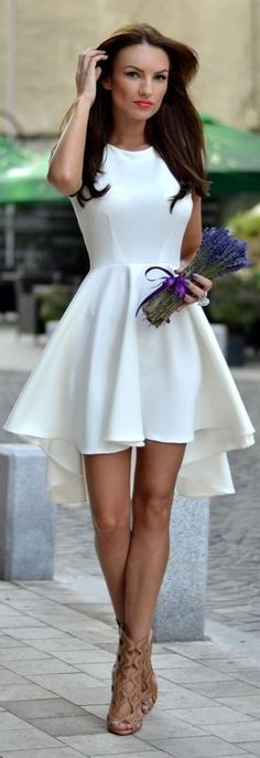 Summer Short Dresses Arrivals 2015 White Beautiful Mid Dress No Accessories Required.