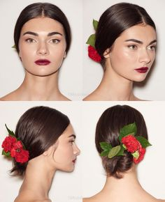 Simple Spanish Inspired Updo: Redken at Dolce & Gabbana Spring 2015