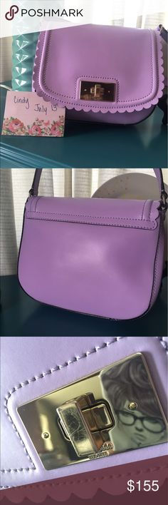 Kate Spade Lilac Road Lavender Crossbody BNWOT Brand New Never Used 💜💜💜💜💜💜💜💜 I've always loved ❤️ the delicate scalloped femininity of this style but I never found myself reaching for it. I removed the tags in an effort to commit to using it but still never did.  Some scratches on hardware   Smoke Free 🚫 Poodle Friendly 🐩🏡👍  Feel free to ask any question or request additional Purchase with confidence👌 Thanks for looking kate spade Bags Crossbody Bags