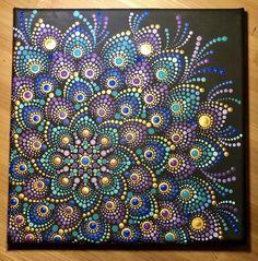 Lovely Dot Mandala Jewel Tones on stretched canvas 8 x Mandala Design, Mandala Pattern, Mandalas Painting, Mandalas Drawing, Watercolor Mandala, Dot Art Painting, Painting Patterns, Purple Painting, Triangles