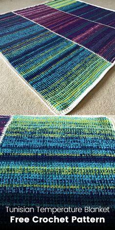 Tunisian Temperature Blanket Free Crochet Pattern #crochet #crafts #blanket #homedecor #style #ideas #project #design