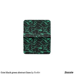 Cute black green abstract lines card holder