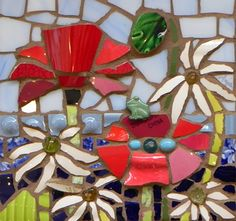 Floral Explosion with Daisies by Anja Hertle   Maplestone Gallery  Contemporary Mosaic Art