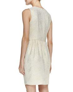 T8DZ8 Shoshanna Adrianna Sleeveless Gold Dot Dress