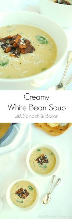 version of Barefoot Contessa's White Bean Soup, with spinach, bacon ...