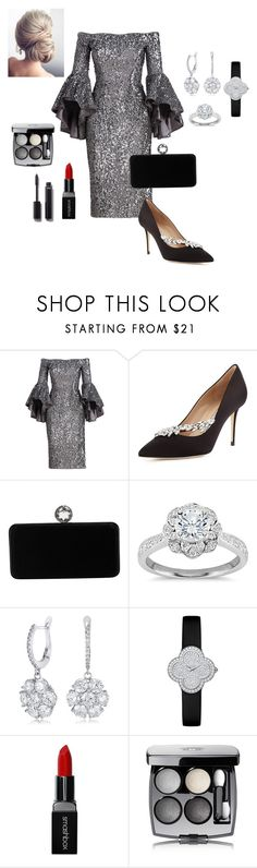 """""""Diamond✨"""" by jenna-adawoud ❤ liked on Polyvore featuring Milly, Manolo Blahnik, Swarovski, Zac Posen, Van Cleef & Arpels, Smashbox and Chanel"""