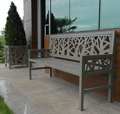 'Geometric Forest' Laser cut outdoor bench and pot – 'Geometrik Ağaçlar' Lazer Kesim Bank ve saksılık