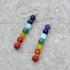 chakras, genuine amethyst, lapis, amazonite, aventurine, yellow jade, carnelian, and red jasper earrings