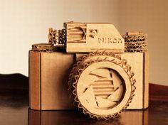 Cardboard Nikon Camera, Marta Crass, eco art, cardboard art, cardboard camera, sustainable design, green design, cardboard model, cardboard, recycled cardboard, recycled materials, sustainable materials