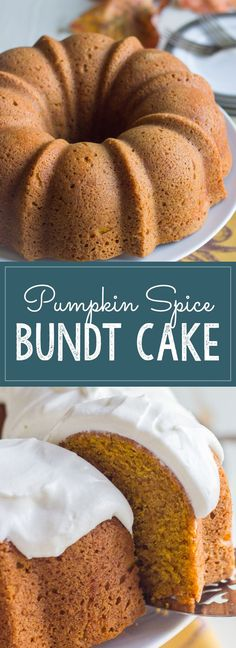 Easiest cake ever! Comes out of the pan looking fancy and all ready to go. Pumpkin Bunt Cake, Cinnamon Bunt Cake, Easy Pumpkin Cake, Pumpkin Deserts, Pumpkin Pumpkin, Pumpkin Spice Bread, Pumpkin Spice Bundt Cake Recipe, Pumpkin Puree Recipes, Fall Cake Recipes