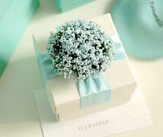 Wedding Favor Candy Box , DIY Party Paper Favor Box , Candy Box with Ribbons and Flowers,Blue
