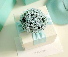 Boda Favor Candy Box, bricolaje papel del partido Favor caja, caja de caramelos con cintas y flores, azul