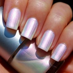 White Opal Franken Nail Polish - White pearl color with a pink/gold duochrome effect