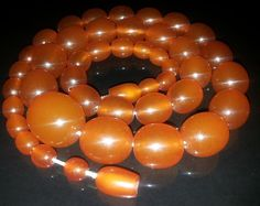 VINTAGE ANTIQUE Round Beads BALTIC AMBER Necklace
