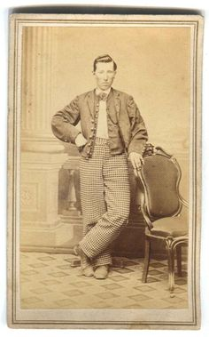CDV Civil War Era Man in Plaid Pants Standing by Chair