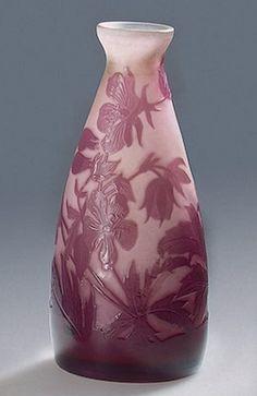Émile Gallé                                  Vase Decorated with Geranium Manufactory of Emile Galle France, Nancy. Circa 1925.