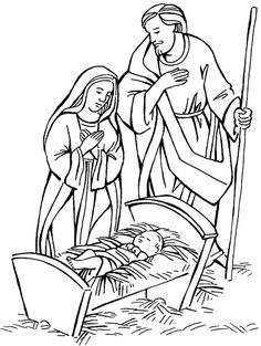Mary and Joseph and baby Jesus Bible coloring pages xmascoloringpages.blogspot.com
