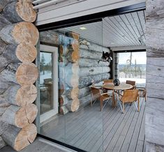 Terrace of a log house Porch And Terrace, Rustic Elegance, Cozy Living, Coastal Style, Log Homes, Home Fashion, Country Style, Interior Inspiration, Sweet Home