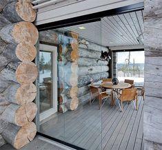 Terrace of a log house