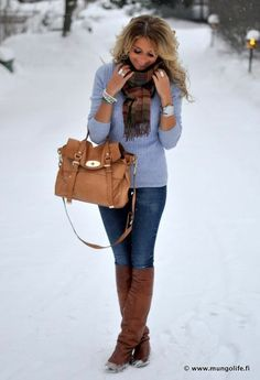 Baby Blue Sweater, Med Wash Skinnies, Brown Knee Boots And Bag, Plaid Scarf