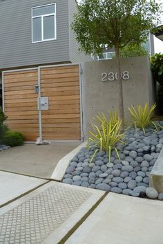 Contemporary Landscape/Yard with Butler Arts 8 in. to 10 in. Black Melon Mexican Beach Pebble, Argus Slat Fencing & Gate