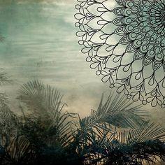 'Island Palm Mandala' by surfculture Canvas Prints, Art Prints, Palm, Surfing, Mandala, Tapestry, Culture, Island, Frame